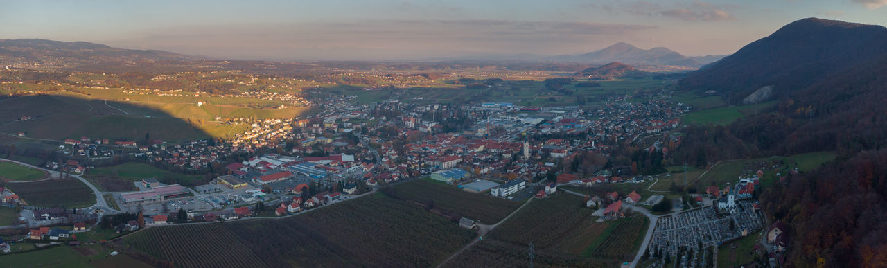 High angle shot of townscape against sky during sunset