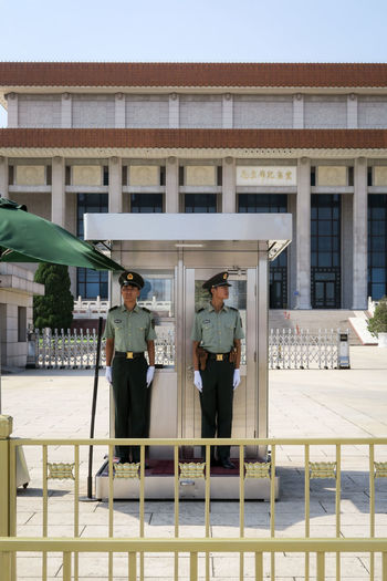 This Is Masculinity Guards Mao Mausoleum Mao Tse Tung Tiananmen Square Architecture Building Exterior Built Structure Day Full Length Lifestyles Men Outdoors People Police Real People Sky Standing The Week On EyeEm Discipline