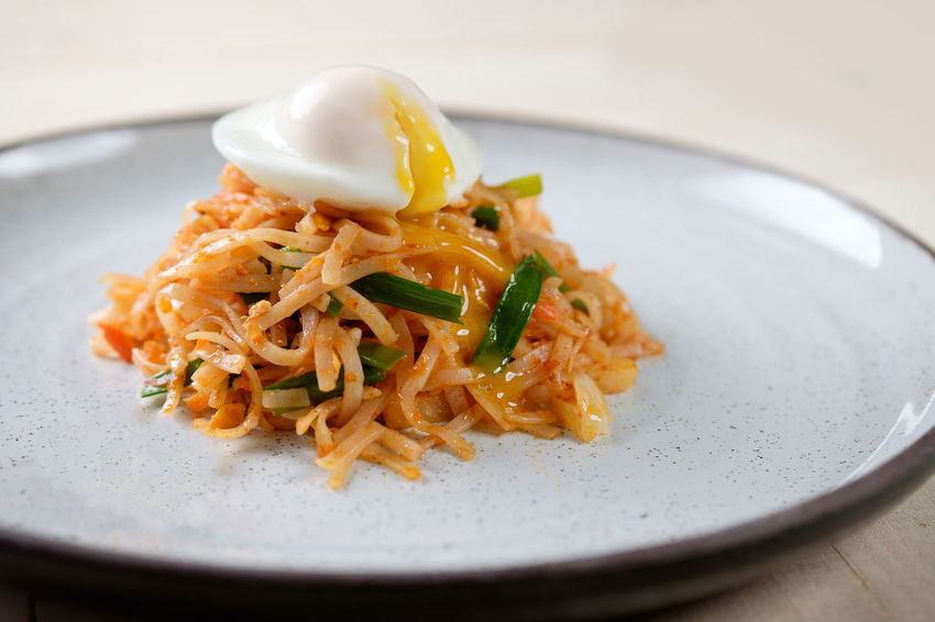 Egg Yolk Noodles Chinese Food Close-up Eggs Food Food And Drink Freshness Garnish Healthy Eating Indoors  Indulgence Italian Food Meal Mee Goreng Plate Ready-to-eat Selective Focus Serving Size Spaghetti Still Life Table Temptation Wellbeing