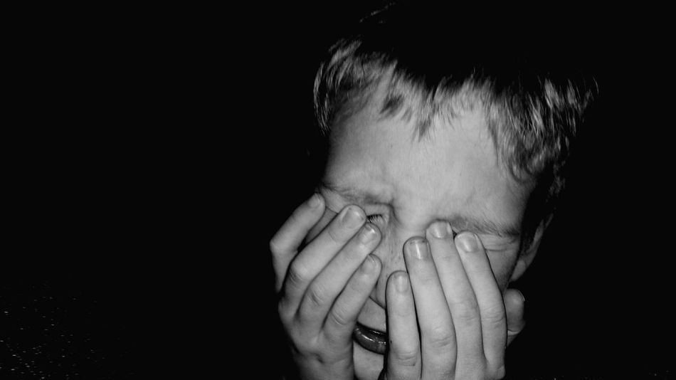 Anger, upset, cry Child Child Photography Angery Boy Crying Upsetting Blackandwhite Black And White Hands Hands Before Face