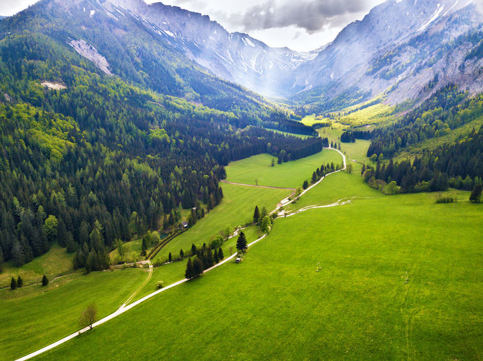 Scenic view of green landscape and mountains