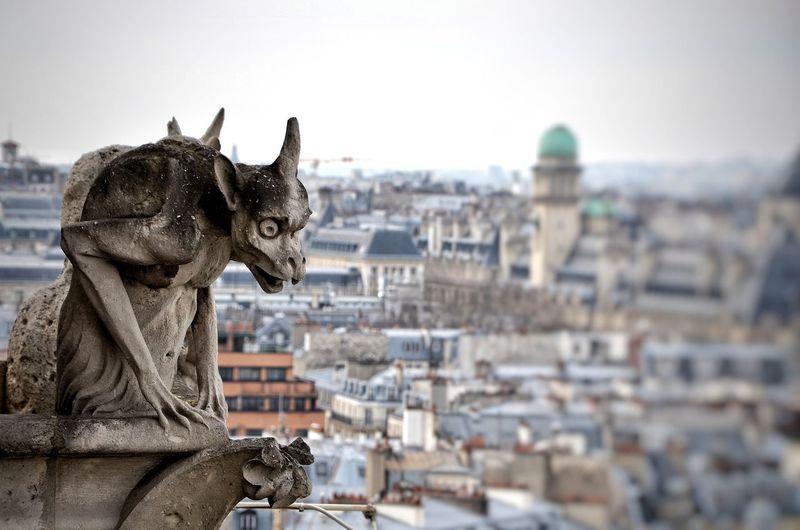 Statue Gargoyle Cityview Paris Notre Dame De Paris EyeEm Selects Architecture Outdoors Built Structure No People Day One Animal Building Exterior City Cityscape Close-up