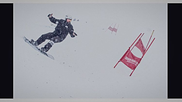 Banked Slalom Race in Laax . Not the best contitions for a Competition Day