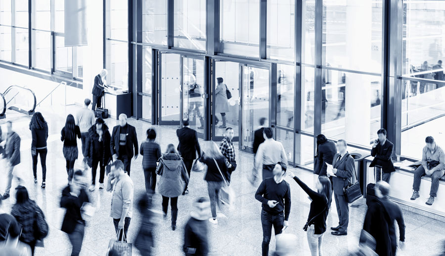 People in office building