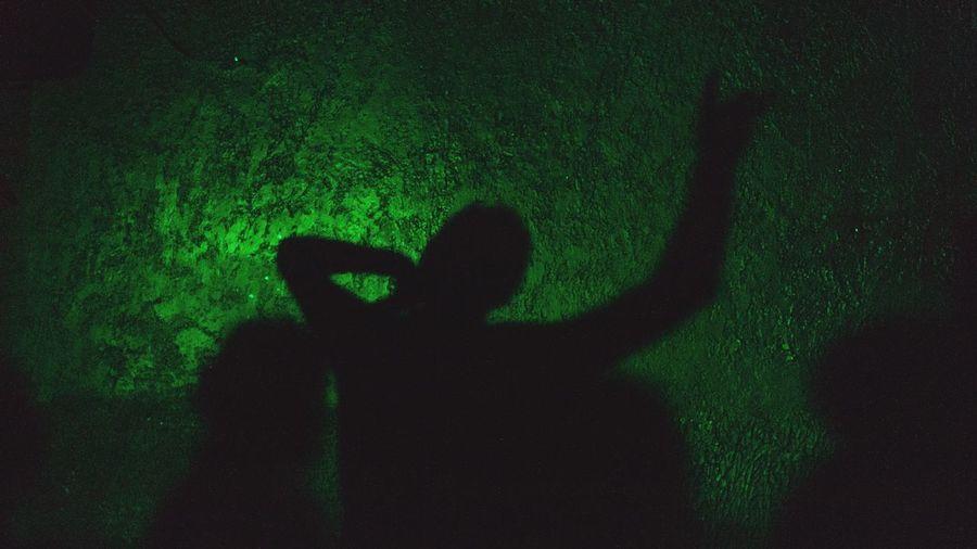 Shadow of man on hand