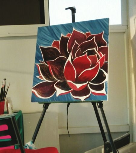 Flower No People Art Art Space Art Studio Original Art Original Artwork ArtWork Painting Paint Easel Paintbrush Paintbrushes My Art, My Soul... Lotus Lotus Flower Blue Red Purple White Creativity Create Art Art Is Life Life Is Art Art Therapy