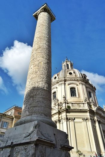 Trajan's Column Imperial Forum Church City Ancient Civilization King - Royal Person Sculpture Statue Architectural Column Blue History Spirituality Religion Old Ruin Civilization Ancient Ancient Rome Ruined The Past