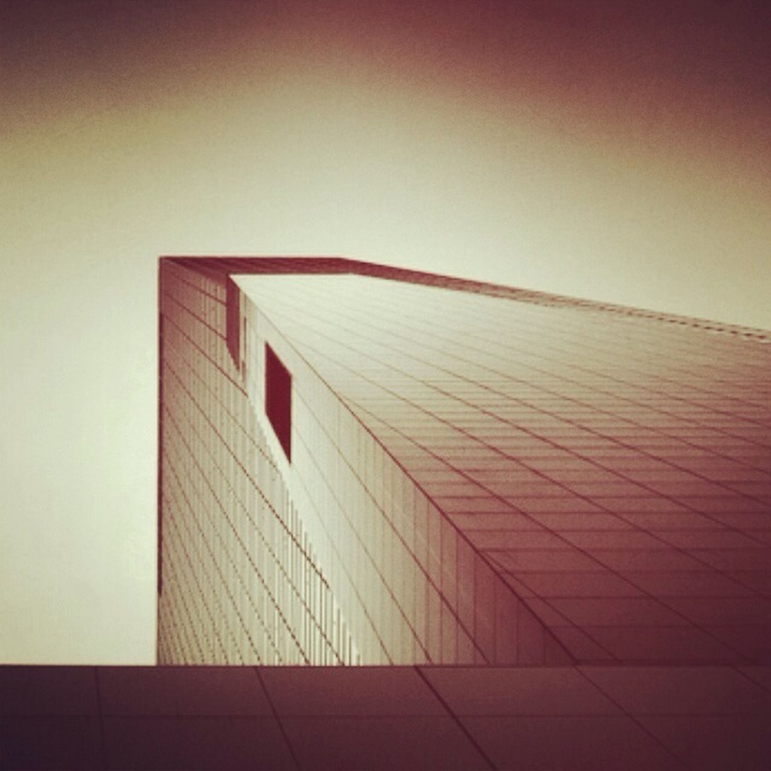 architecture, built structure, building exterior, low angle view, red, no people, auto post production filter, wall - building feature, indoors, day, building, pattern, sunlight, modern, wall, flag, shadow, copy space, clear sky