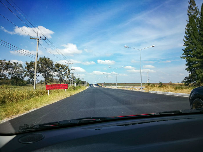 Car Transportation Windshield Road Car Interior Vehicle Interior Mode Of Transport Travel Car Point Of View The Way Forward Land Vehicle Cloud - Sky Sky On The Move Driving No People Journey Dashboard Day Tree