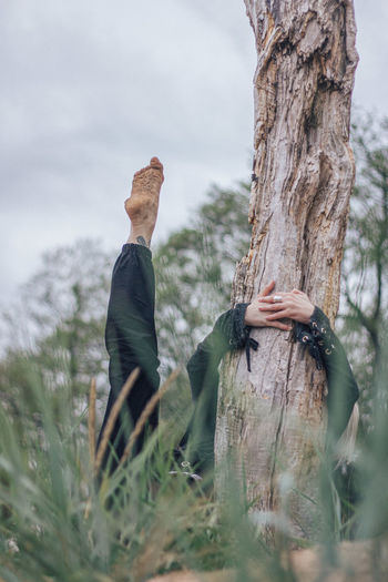 Rear view of woman walking on tree trunk against sky