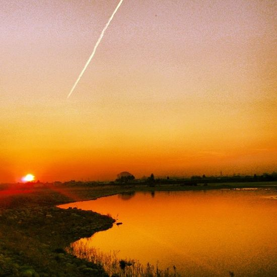 Vapor Trail To The Sunset River Sunset Sky Japan Utsunomiya Tochigi Kinugawa Vaportrail