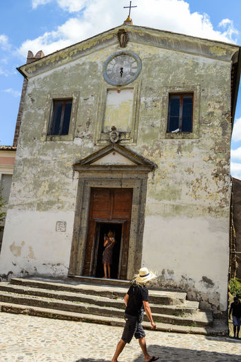 Church Architecture Bell Tower Building Exterior Built Structure Calcata Day Italy Lifestyles Old Church Outdoors Real People Religion Spirituality Town Village
