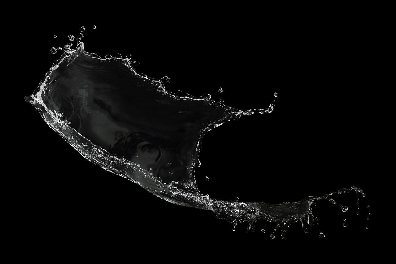 studio shot, water, black background, motion, splashing, no people, close-up, indoors, nature, drop, copy space, sea, pattern, food and drink, drink, simplicity, dark, cut out, purity, high-speed photography