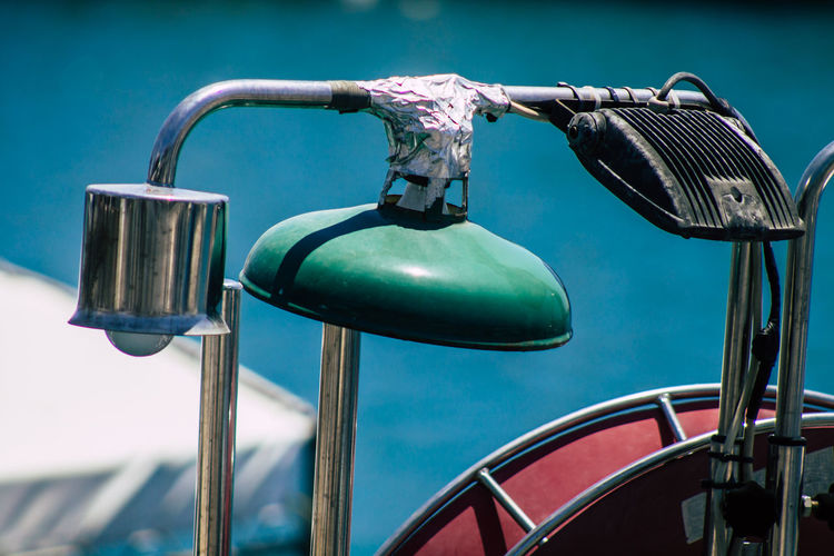 Close-up of padlocks on swimming pool