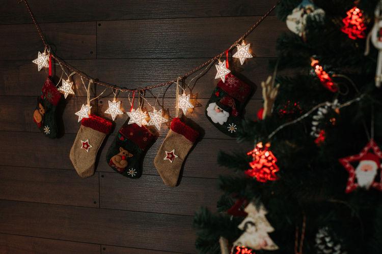 Illuminated christmas decoration hanging at home