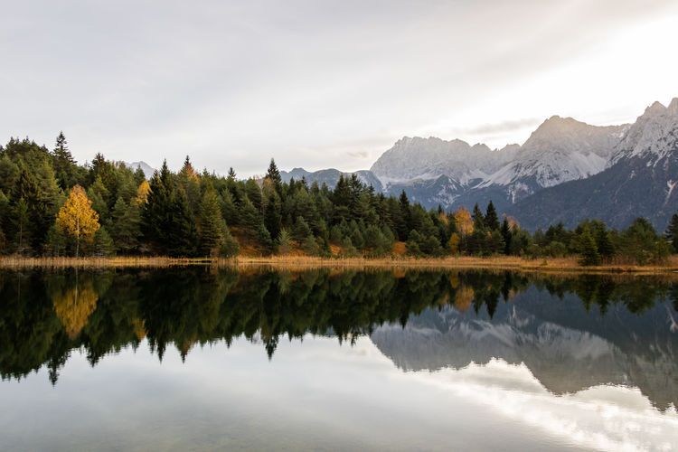 Calm water at a lake in Garmisch-Patenkirchen (Mittenwald) in Bavaria, Germany. Water Tree Beauty In Nature Lake Reflection Sky Plant Tranquility Mountain Scenics - Nature Tranquil Scene Nature Waterfront Day No People Non-urban Scene Outdoors Garmisch-partenkirchen Mittenwald Luttensee Reflection Calm Water Autumn Autumn Lake Sunrise My Best Photo