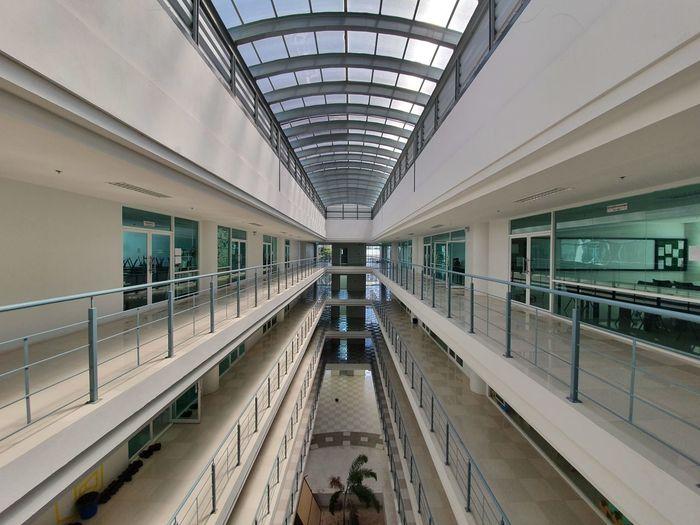 People in modern building