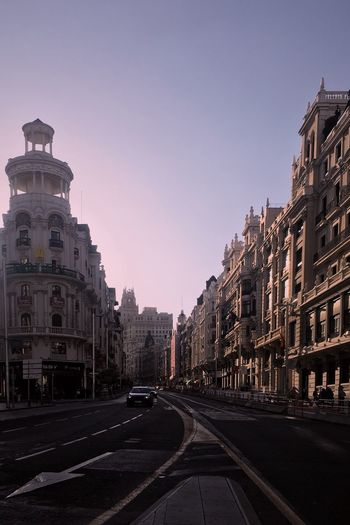 Madrid Building Exterior Architecture Built Structure Sky City Building Clear Sky Street Road No People Direction