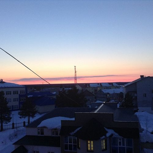 Sunset Beautiful Home Noth Of Russia