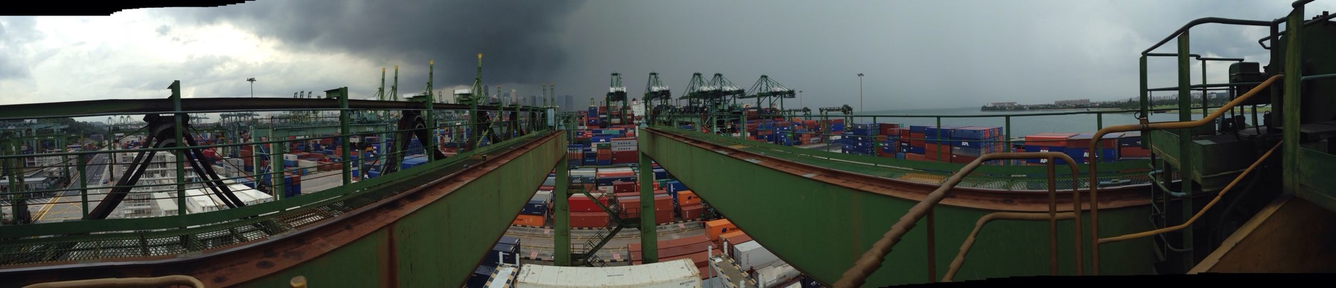 No Filter Panorama Iphone5C Singapore Cranes Rain Rain Rain