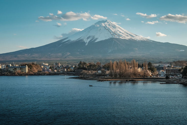 Fuji on a clear winter day Mountain Water Sky Scenics - Nature Beauty In Nature Waterfront Tranquil Scene Nature Winter Sea Snowcapped Mountain Cloud - Sky Snow No People Cold Temperature Volcano Tranquility Mountain Peak Outdoors Fuji Mt Fuji Japan Landscape