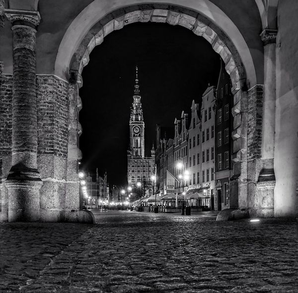 Night Architecture Townhall Gdansk, Poland Black And White Friday