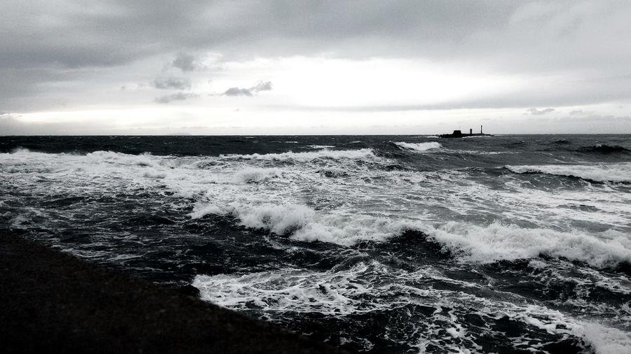 Sea And Sky B&w at Leghorn/ Livorno Italy