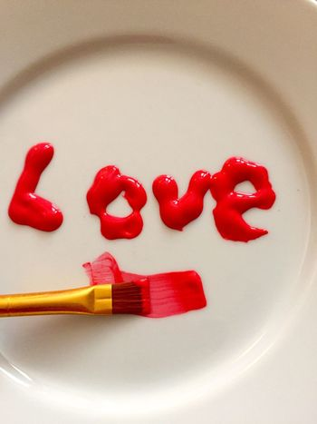 Love Red Paint Acrylic Paint Red Word Art Abstract Bold Getting Creative