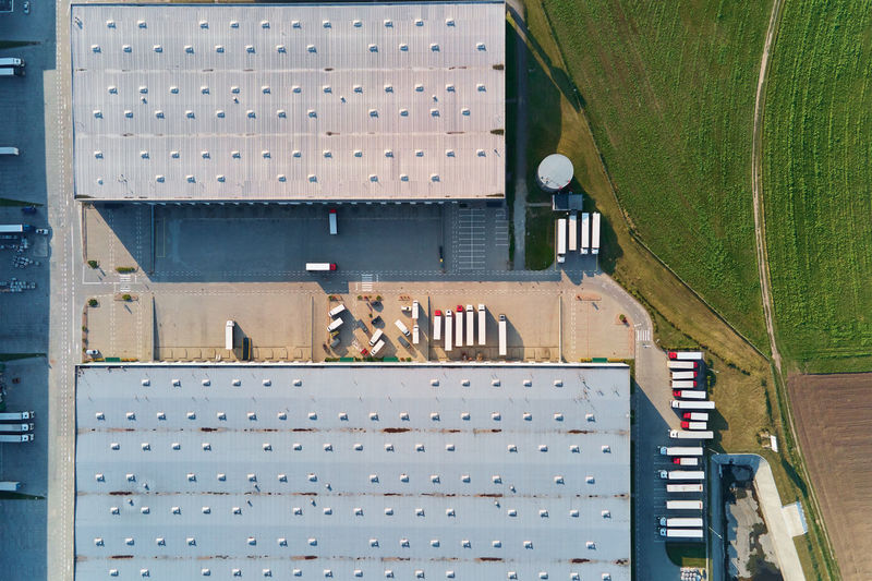 High angle view of cars on building