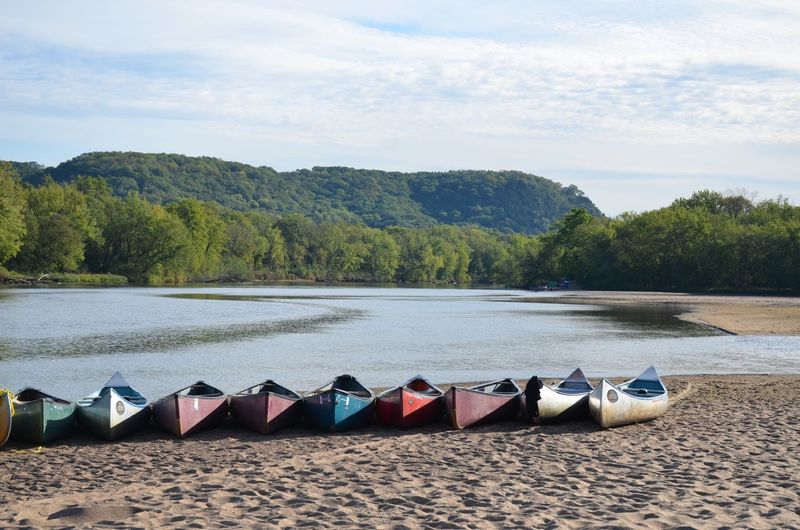 Canoe Canoeing Wisconsin Beach Beauty In Nature Day Nature Nautical Vessel Outdoors Sand Scenics Tranquil Scene Tranquility Water Wisconsin River First Eyeem Photo