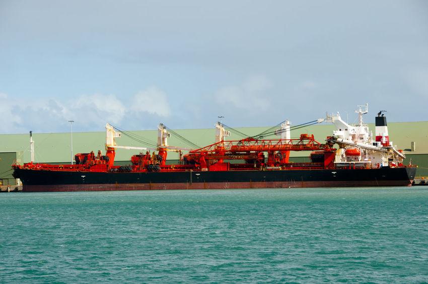 Self Discharging Bulk Carrier Australia Geraldton Western Australia Bulk Carrier Freight Transportation Nautical Vessel Port Ship