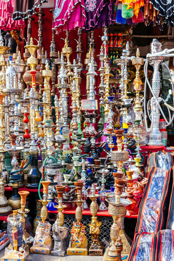 Abundance Cairo Choice Close-up Egypt Egyptian Figurine  For Sale Hanging Large Group Of Objects Market Market Market Stall Multi Colored No People Outdoors Retail  Shesha Shopping Smoke Souvenir Store Variation