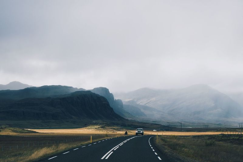 Car On Road Iceland Icelandic Road Landscape Mountain Nature Outdoors Road Road Marking Scenics Transportation Winding Road