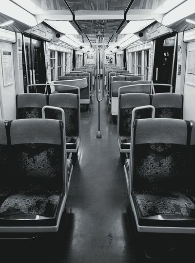 Empty RER B Public Transportation Blackandwhite