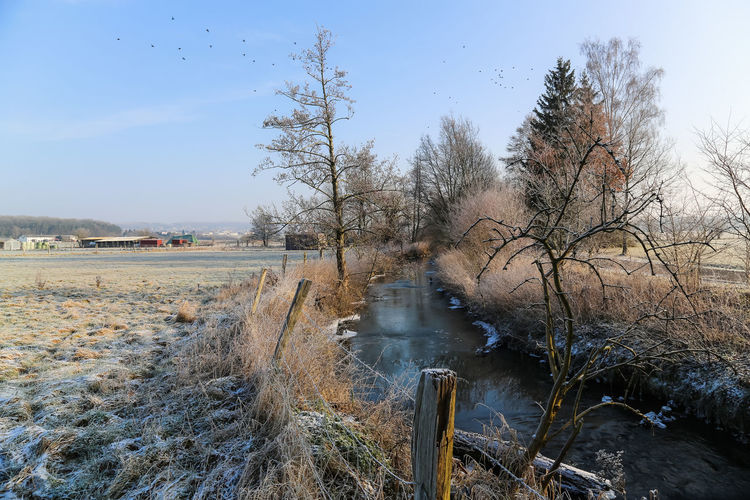 River amidst field during winter