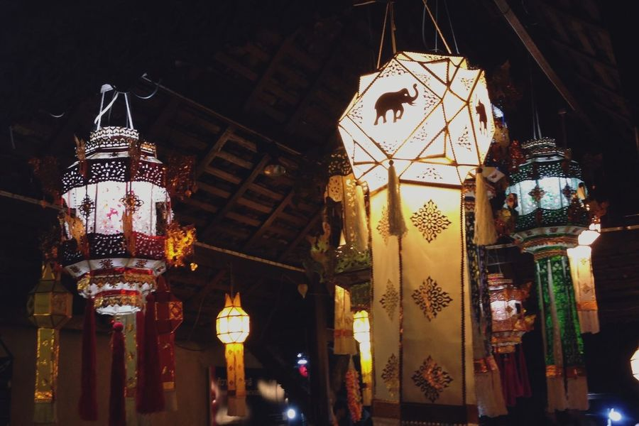 Vivid decorative style of Lampang art gallery Illuminated Hanging Lighting Equipment Low Angle View Lantern Night Architecture Built Structure Chinese Lantern No People Indoors  Paper Lantern Lampang | Thailand Tadaa Community