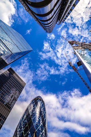 Skies and Scrappers London London Lifestyle LONDON❤ London_only Londonlife London Streets Londononly Londonthroughmycam Gherkin Gherkin Tower Gherkin Building Londoncity Blue Sky