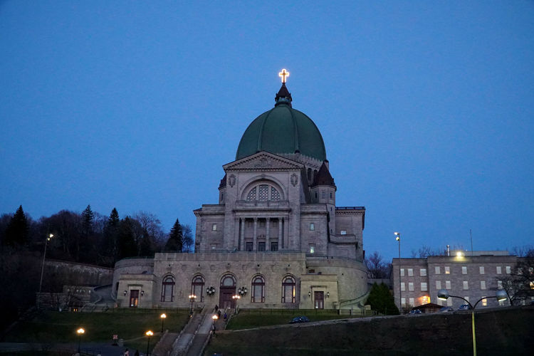 Architecture Blue Building Exterior Built Structure City Clear Sky Dome History Illuminated Low Angle View Lowlight No People Oratory Outdoors Place Of Worship Religion Saint Joseph Santuario Santuary Sky Spirituality St Joseph St Joseph Oratory Travel Destinations Tree