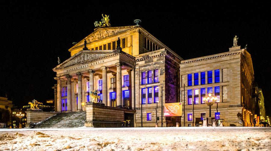 Illuminated Berlin Concert Hall Architecture Berlin Berlin Concert Hall City Illuminated Night No People Outdoors Snow Winter