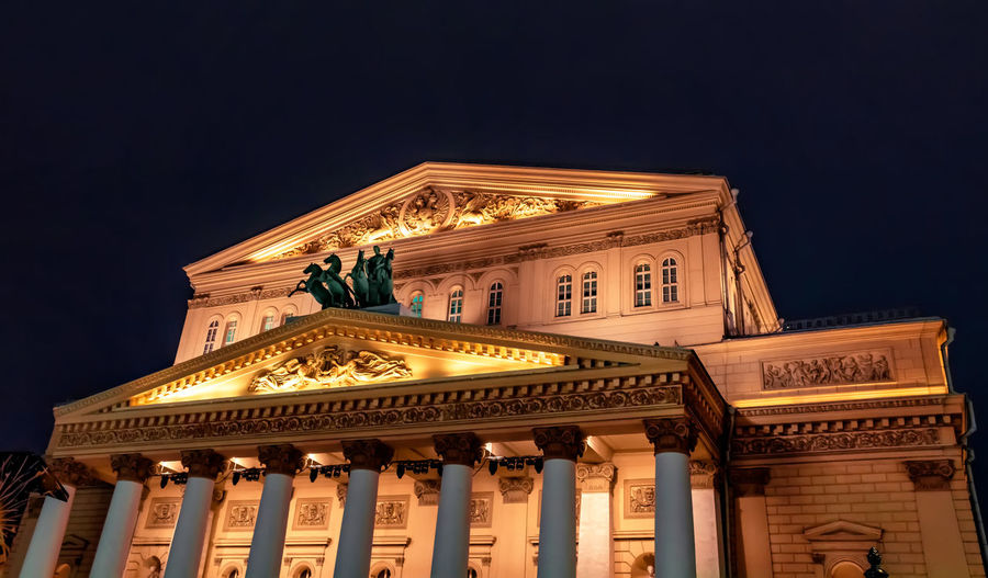 Night view of the bolshoi theater in moscow