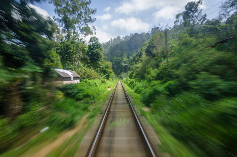 Blurred Motion Day Diminishing Perspective Direction Green Color Mode Of Transportation Motion Nature No People Outdoors Plant Public Transportation Rail Transportation Railroad Track Sky Speed The Way Forward Track Transportation Tree It's About The Journey