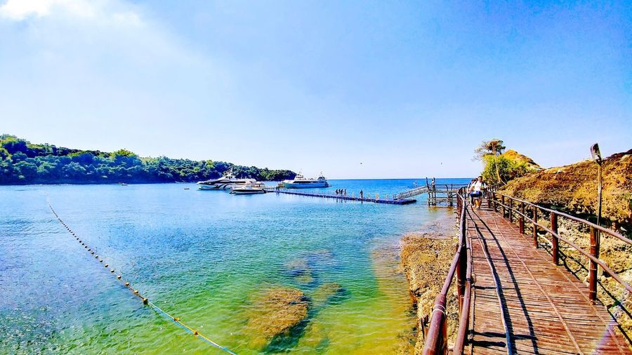 Welcome to Mariveles Dock Clear Blue Sky Clear Water Clear Day Azure Sky EyeEmNewHere Sea Water Horizon Over Water Beach Sky Outdoors Day Nature Beauty In Nature Scenics Multi Colored Clear Sky