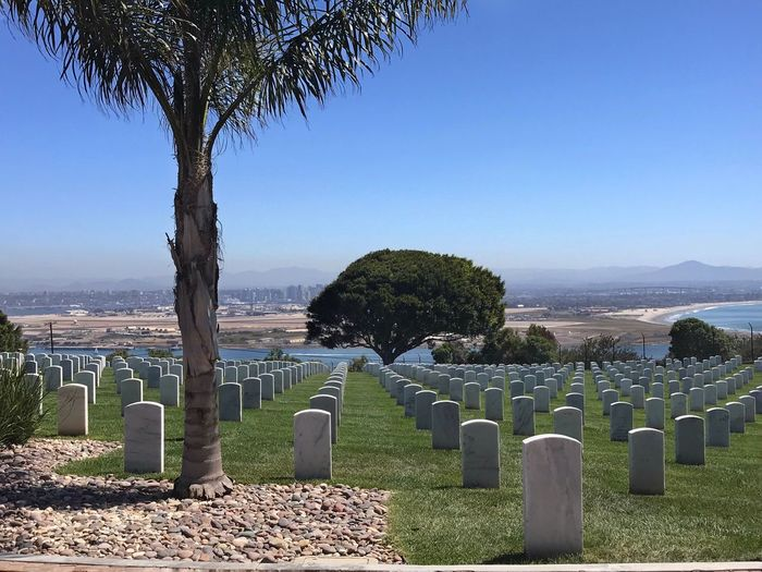 Panoramic view of cemetery against clear blue sky