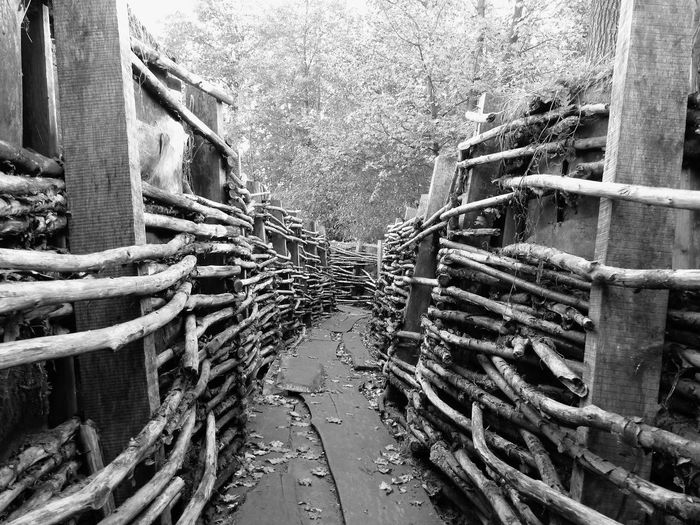 Wooden Construction Wooden Texture Worldwar Trenches Trench No People Day Architecture Built Structure Rope Outdoors Building Exterior Full Frame Building