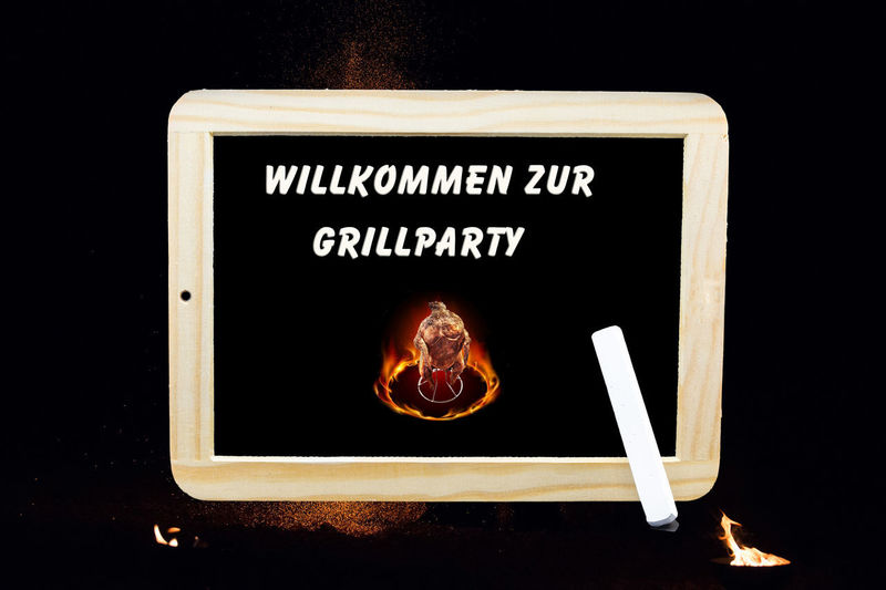 Sign with inscription in English - Welcome to the barbecue party Text Communication Black Background Western Script Sign One Person Indoors  Studio Shot Close-up Illuminated Board Information Emotion Blackboard  Technology Real People Night #NotYourCliche Love Letter