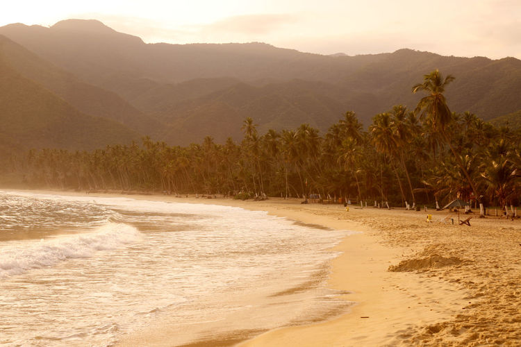 Scenic view of beach against mountains