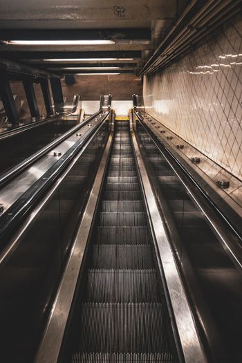 Stairs in NYC Mta Subway New York CFPRS NYC Architecture Transportation Convenience Indoors  Railing The Way Forward Escalator Direction Technology Connection Subway Station Built Structure Travel Modern Illuminated Moving Walkway  My Best Photo