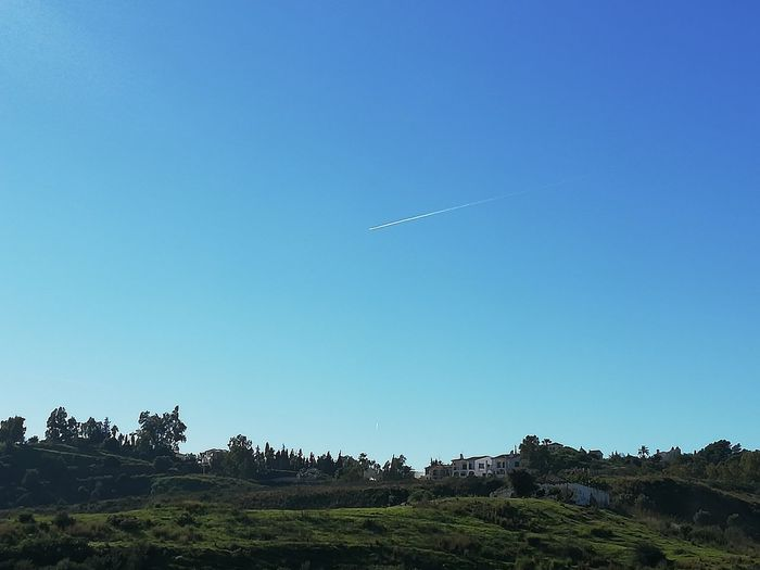 It is a great day Great Day  Blue Sky Vapor Trail Astronomy Airplane Flying Clear Sky Blue Air Vehicle Moon Sky Landscape