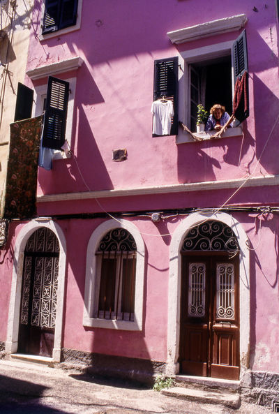 Colourful Buildings in Corfu Old Town, Greece Alleyway Architecture Building Exterior Campiello Corfu Town Corfu, Greece Day Façade Greece Ionian Islands Kerkyra_corfu Greece Outdoors Pink Color Street Photography Travel Photography UNESCO World Heritage Site Venetian Vertical Window