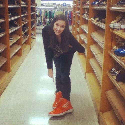 @madisonbf21 in her new size 14 bright orange kicks that she found at Marshall's. Bigkicks